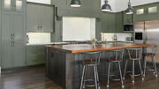 Fully Assembled All Wood 10x10 Cambridge Sage Shaker Kitchen Cabinets Green