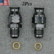 For 2x 5/16 Tube To 6an Male Adapter Fitting With Brass Ferrule Black Hardline