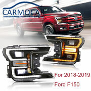 Led Headlights Left + Right Assembly Fits Ford F-150 F150 2018-2020 Black