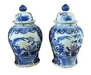 Lg Chinoiserie B And W Ginger Jars 23 H