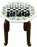 13x13 White Marble Chess Inlay Top Table With 15 Tall Stand Christmas Gift