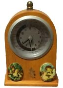 World Time Clock Day And Night Oak Wood Mantle Desk Collectible