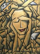 Original Abstract Golden Oil Painting Cubism Wall Art Gallery Face Canvas Signed