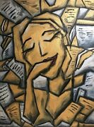 Ooriginal Abstract Golden Oil Painting Cubism Wall Art Gallery Canvas Signed Us