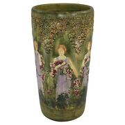 Weller Pottery Flemish Zona Woman And Garland Scenic Ceramic Umbrella Stand