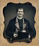 Weathered Sailor With Earrings + Layers Of Jackets 1/6 Plate Daguerreotype F997