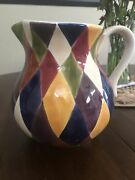 Harlequin Hand Painted Carnival 80 Oz Pitcher Multi-color Pottery Ceramic Nice