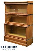 19th C Antique Arts And Crafts Macey Tiger Oak Stacking Barrister Bookcase