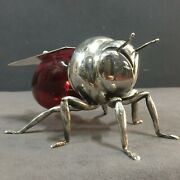 1920's Mappin And Webb Bee Form Lidded Red Glass Honey Pot With Spoon