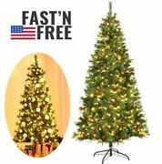 7 Ft Christmas Tree With 350 Led Lights Metal Stand Decorations Clearance Indoor