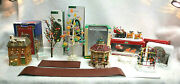 Christmas Village Accessories Lot Of 9 Pieces Trees,buildings, Figurines Xm1286