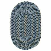 Charlesgate Variegated Blue Wool Blend Country Farmhouse Oval Round Braided Rug