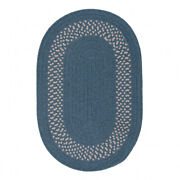Grano Blue White Bordered Wool Blend Country Farmhouse Oval Braided Rug