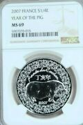 2007 France Silver 1/4 Euro Year Of The Pig Ngc Ms 69 Beautiful Coin Top Pop