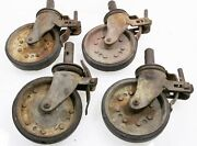 [set Of 4] Vintage Steampunk Scaffold Caster Wheels 8 Faultless 900 And Bassick