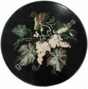 26x26 Black Marble Round Top Table Grapes Art Inlay Floral Christmas Gift Deco
