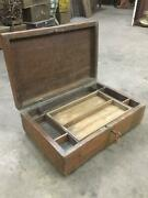 Old Vintage Rare Handmade 9 Compartment Wooden Cash / Jewelry Box With Lock, Key
