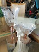 Morgantown Glass Co. Queen Louise Water Goblet And Small Sherbet