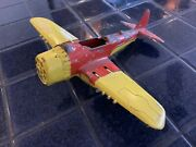 Vintage Hubley Toy Airplane With Fold Up Wheels + Wings - 1950and039s