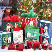 28pcs Christmas Kraft Gift Bags Set Christmas Prints Bags With 24 Tissue Papers