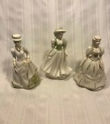 K's Collection Victorian Porcelain Lady Figurines Set Of 3, 6 Tall.