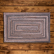Gloucester Wool Cashew Tan Country Farmhouse Concentric Rectangle Braided Rug
