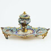 Antique French Desk Top Ink Well Bronze Champleve Cloisonne Enamelwork