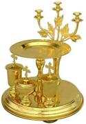 D Religious Gifts Votive Candles Holder With Tray Gold Plated