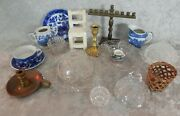 Lot Vintage Doll Child Pressed Glass Dishes Furniture Menorah Blue Willow