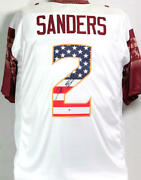 Deion Sanders Signed White College Style Jersey W/ Flag Numbers - Beckett W Auth