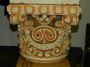 Antique Clay Fired Architectural Capitols Heavy Glaze Historical Building