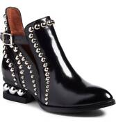 Jeffrey Campbell Rylance Silver Studded Black Box Leather Cut-out Rocker Bootie