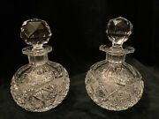 Vintage Pair Of Clear Crystal Cut Glass Perfume Bottles W/ Stopper