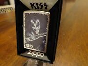 Kiss The Demon Gene Simmons Tongue And Guitar Zippo Lighter Mint In Box