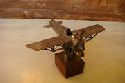 Rare Old 1920 Wwi Military Airplane Plane Model Handmade Metal Silvered Type