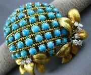 Antique Extra Large 18.4ct Diamond Aaa Turquoise 14kt 2 Tone Gold Brooch Pendant
