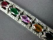 Wide 6.96ct Diamond And Aaa Multi Gem 14kt White Gold 3d Classic Tennis Bracelet