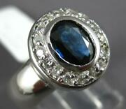 Large .83ct Diamond And Aaa Sapphire 14kt White Gold Oval And Round Engagement Ring