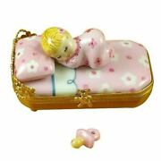 Pink Baby In Bed Pacifier Rochard Limoges Box Figurine