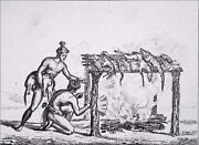 Usa - Indian Florida How Smoking The Game - Engraving From 19th Century