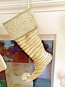 Stunning Velvet And Pearls Christmas Stocking In Cream And Gold