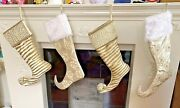 Stunning Satin, Velvet And Crystals Christmas Stocking In White Cream And Gold