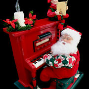 Animated Christmas Display / Santa With Piano And Elf / Cassette Player / Xl Size