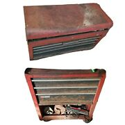 Vintage 1980and039s Craftsman Red Metal Tool Box Chest And Top Usa All Contents Incl.