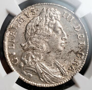 1698 Great Britain William Iii. Certified Large Silver Andfrac12 Crown Coin. Ngc Unc+
