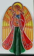 Vtg Christmas Angel Hallmark Tree Topper Acrylic Stained Glass Style 1979 W Box