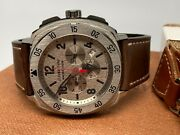 Jean Richard Areoscope Chronograph Silver Leather Band Watch Msrp 4900.00