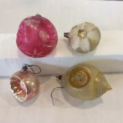 Lot Of 4 Antique And Vintage Christmas Ornaments Very Old Molded Balls