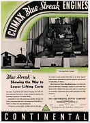 1937 Continental Supply Co. Ad Climax Blue Streak Engines For Oil Field Pumping