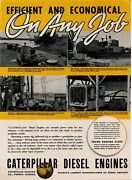 1937 Caterpillar Diesel Engines Ad Houston And Other Texas Oil Field Power Gen.